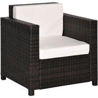 Rattan Garden 1 Seater Chair Wicker Weave Single Sofa Armchair Outdoor Chair Fire Retardant Sponge Brown - Outsunny