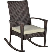 Rattan Rocking Chair Rocker Garden Furniture Seater Patio Bistro Recliner Relaxer Outdoor Wicker Conservatory w/ Cushion - Outsunny