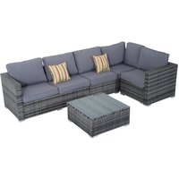 Rattan Sofa Set 4PC Patio Cushioned Corner Sofa Coffee Table Outdoor Garden Furniture Aluminium Frame Wicker Weave Conservatory Grey - Outsunny