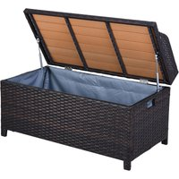 Outsunny Rattan Storage Cabinet Cushion Box Chest Bench Patio Weave Seat Seater w/ Lining Outdoor Garden Patio Wicker Furniture Brown