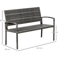 Outsunny Rattan Two-Seater Garden Bench Loveseat Outdoor Seat Furniture Grey