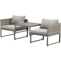Rattan Wicker Adjustable Sofa Coffee Table Set Outdoor Garden Furniture - Outsunny