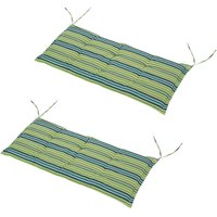 Set Of 2 Striped Bench Cushions 2 Seater Padded w/ Tie Fastenings Green Grey - Outsunny