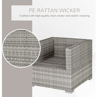 Single Wicker Furniture Sofa Chair w/ Padded Cushion Garden Balcony Grey - Outsunny