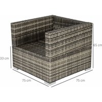 Single Wicker Furniture Sofa Chair w/ Padded Cushion Garden Balcony Mixed Grey - Outsunny