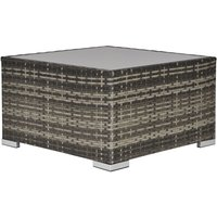 Square Rattan Dining Coffee Table w/ Glass Top Garden Furniture Dark Grey - Outsunny