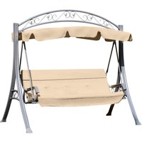 Outsunny Steel 3 Seater Swing Chair Patio Lounger Canopy Shelter Cushioned Seat - Beige