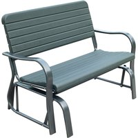 Swaying Garden Bench 2-Seater Metal Frame Curved Arms Outdoor Seating - Outsunny
