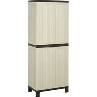 Outsunny Tall Plastic Utility Cabinet Tool Shed Double Door Storage Adjustable Shelves - Beige