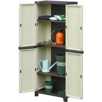 Tall Plastic Utility Cabinet Tool Shed Double Door Storage Adjustable Shelves - Beige - Outsunny