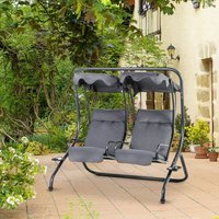 Outsunny Two Seat Garden Swing Bench Hammock w/ Handrails Cup Holders Grey