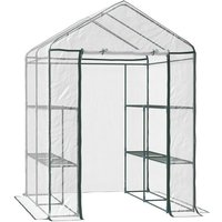 Walk-in Greenhouse PVC w/ Shelves Metal Frame 143L x 143W x 195H (cm) - Outsunny