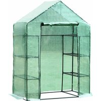 Walk-in Greenhouse w/ Shelves Polytunnel Steeple Green - 143L x 73D x 195H (cm) - Outsunny