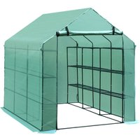 Outsunny Walk-in Greenhouse w/ Shelves Polytunnel Steeple Green - 182L x 244D x 213H (cm)