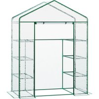 Walk-in Greenhouse w/ 8 Shelves and Metal Frame 143L x 73W x 195H (cm) - Outsunny
