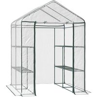 Walk-in Greenhouse PVC w/ Shelves Metal Frame 143L x 143W x 195H (cm) - Outsunny