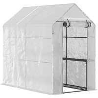 Walk in Greenhouse w/ Mesh Cover 4 Shelves Steel Frame 215x200cm - Outsunny