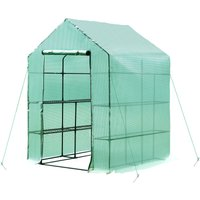 Walk-in Greenhouse w/ Shelves and Removable Cover 143L x 143W x 195H (cm) - Outsunny