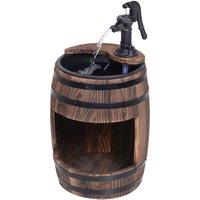 Wood Barrel Pump Fountain Water Feature w/ Flower Planter Garden Outdoor Decor - Outsunny