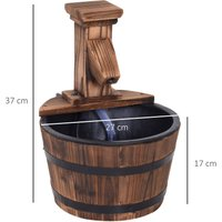 Wood Barrel Pump Patio Water Fountain Water Feature Electric Garden Ornament - Outsunny
