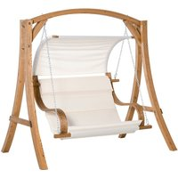 Wooden A-Frame Garden Swing Chair Bench Chair w/ Canopy and Cushion - Outsunny