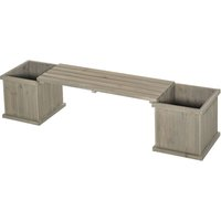 Wooden Garden Planter and Bench Unit Outdoor Decorative Display Grey - Outsunny
