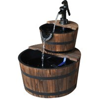 Outsunny Wooden Water Pump Fountain Cascading Feature Barrel Garden Deck - 2 Tier