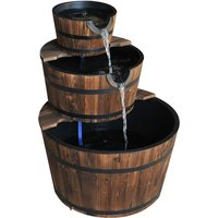 Outsunny Wooden Water Pump Fountain Cascading Feature Barrel Garden Deck - 3 Tier
