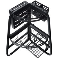 Over The Sink Dish Drying Shelf Rack 3-tier Triangular Corner Drainer Foldable Carbon Steel Dish Drainer Multifunctional Kitchen Organizer All-in-one