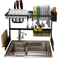 Over the Sink Stainless Steel Dish Holder Dish Drainer Drying Dryer Holder with Draining Board Chopsticks Holder for Kitchenware,model:Black 65cm