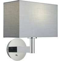 Endon Lighting - Wall Lamp Chrome Plate, Grey Fabric Rectangular Shade With Usb Socket
