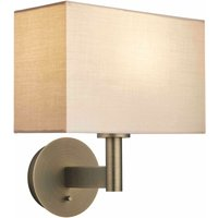 Endon Lighting - Wall Lamp Antique Bronze Plate, Taupe Fabric Rectangular Shade With Usb Socket