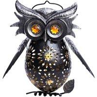 Owl iron lantern, solar light LED garden light