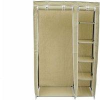 Double Cream Canvas Wardrobe Clothes Rail Hanging Storage Closet - Oypla
