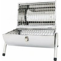 Portable Camping Stainless Steel Barrel BBQ Charcoal Barbecue Table Top - Oypla