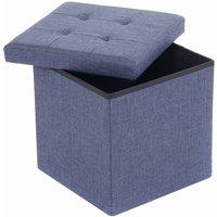Small Blue Linen Folding Ottoman Storage Chest Box Seat Stool Bench - Oypla