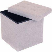 Small Grey Linen Folding Ottoman Storage Chest Box Seat Stool Bench - Oypla