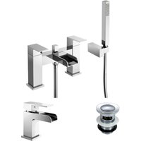 Ozone Bathroom Chrome Brass Modern Basin And Bath Shower Mixer Tap with Free Waste - NESHOME