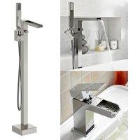 Neshome - Ozone Freestanding Waterfall Bath Shower and Basin Mixer Tap
