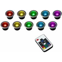 10 x 40Mm Remote Control Colour Changing LED Round Garden Decking Kitchen Plinth Lights Kit - MINISUN