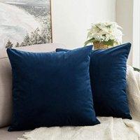 Pack of 2 Velvet Soft Soild Decorative Square Throw Pillow Covers Set Cushion Case for Sofa Bedroom Car 16 x 16 Inch 40 x 40 Cm Dark Blue
