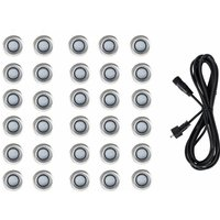 30 x 40mm LED Round IP67 Rated Garden Decking Lights Kit - 3M Extension Cable - White - MINISUN