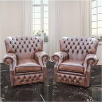 Designer Sofas 4 U - Pair Chesterfield Monks High Back Wing Chair UK Manufactured Armchair Antique Brown Leather