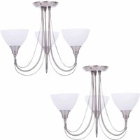 Pair of Brushed Chrome and Opal Glass 3 Light Semi Flushes - FIRST CHOICE LIGHTING