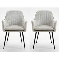 Set of 2 Scandinavian Modern Light Grey Crushed Velvet Fabric Chairs with Metal Legs for Home Office Counter Lounge Leisure Living Room Corner