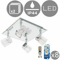 MiniSun - 2 x Chrome Ice Cube 4 Way IP44 Bathroom Ceiling Li
