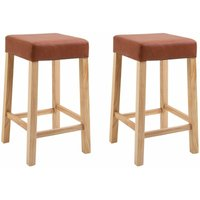 Pair of Wooden Breakfast Bar Stool with Padded Seat in Brown Bonded Leather   Wooden Kitchen Seat Suitable for Breakfast Bar Tables