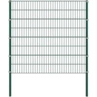 Asupermall - Panneau de cloture avec poteaux Fer 1,7 x 1,6 m Vert