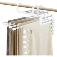 Briday - Pants Hangers Space Saving, Non Slip Stainless Trouser Clothes Storage Hangers for Bedroom Closet Wardrobe Pants Organizer (White, 2)