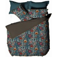 Paoletti Bloom Floral Duvet Cover Set (Single) (Teal)